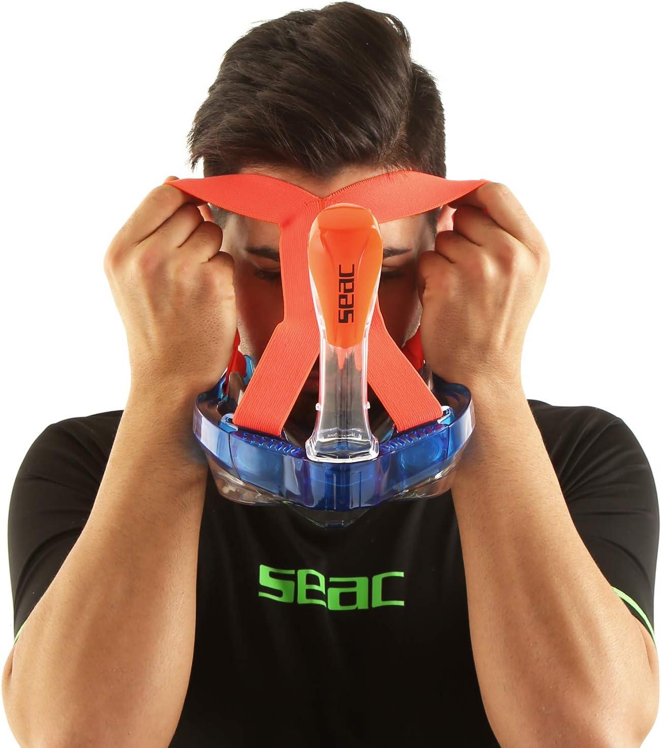 Antibu/ée avec Jupe Souple en 2 Tailles Purge de Vidage et Tuba avec Sist/ème /Étanche au Top Mixte SEAC Magica Masque Snorkeling Plein Visage Int/égral 180/°
