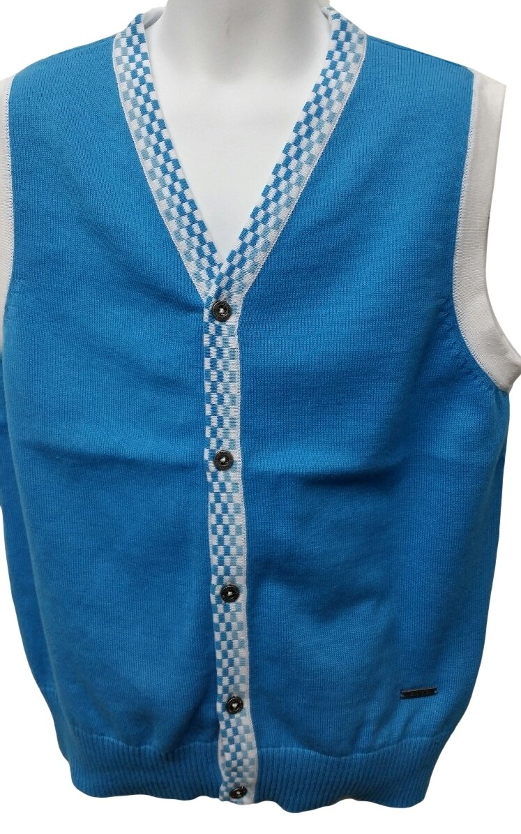 Boy's Sweater Vest 100% Cotton Knited (7, Sky Blue)