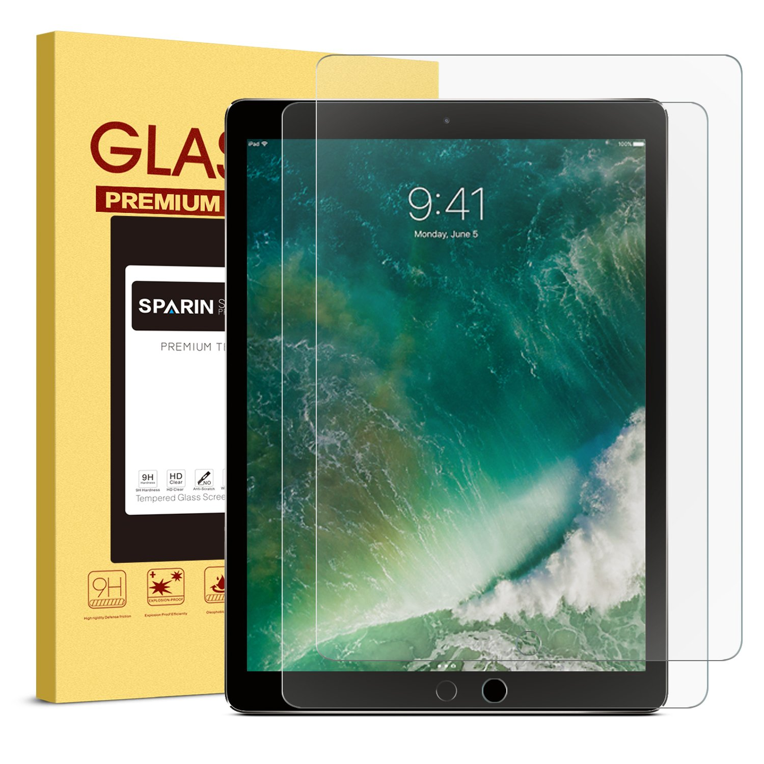 [2 PACK] iPad Pro 12.9 Screen Protector, SPARIN Multi-Touch Compatible / Bubble-Free / Anti-Scratch Tempered Glass Screen Protector For 12.9-Inch iPad Pro (2015, 2017 Release) by SPARIN (Image #1)