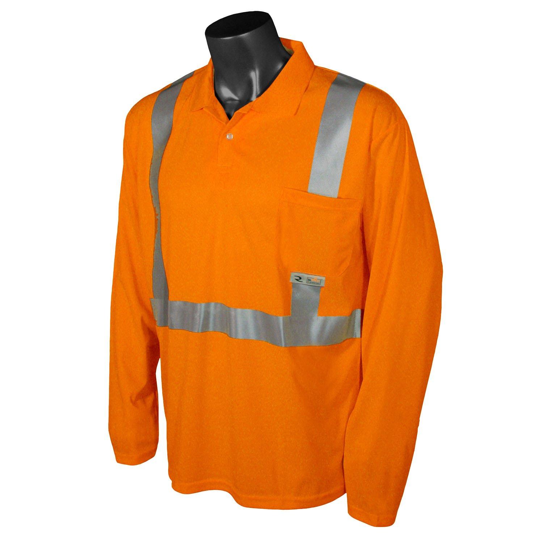 Radians ST22-2POS-4X Class 2 Safety Long Sleeve Polo, Hi-Viz Orange, 4X-Large