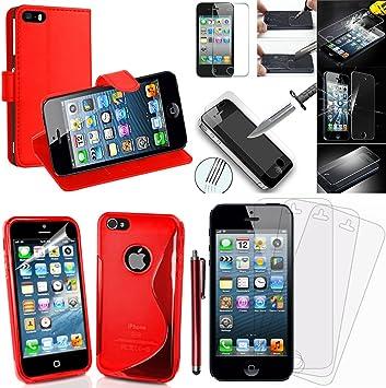 Apple iPhone 5/5S-Lote de accesorios carcasa Funda, lápiz capacitivo silicona, protector de pantalla de vidrio templado con soporte para vídeo, color rojo: Amazon.es: Electrónica