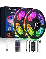 GLIME Strip Lights 10m Waterproof 300 LEDs 5050 RGB Outdoor LED Strip Lights with 12V 5A Power Adapter 44 Key IR Remote Control for Christmas, Garden, Bar, Party, Home Decorations (2x5m)