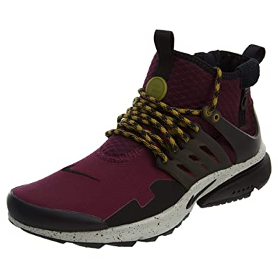 77a7c07e45db Nike Air Presto Mid Utility Men s Running Shoes Bordeaux Black-Pale Grey  859524-