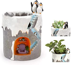 ChasBete Cute Flower Pots Indoor Penguin Planter Decorative Resin Garden Small Plant Pots/Brush Pot Reusable