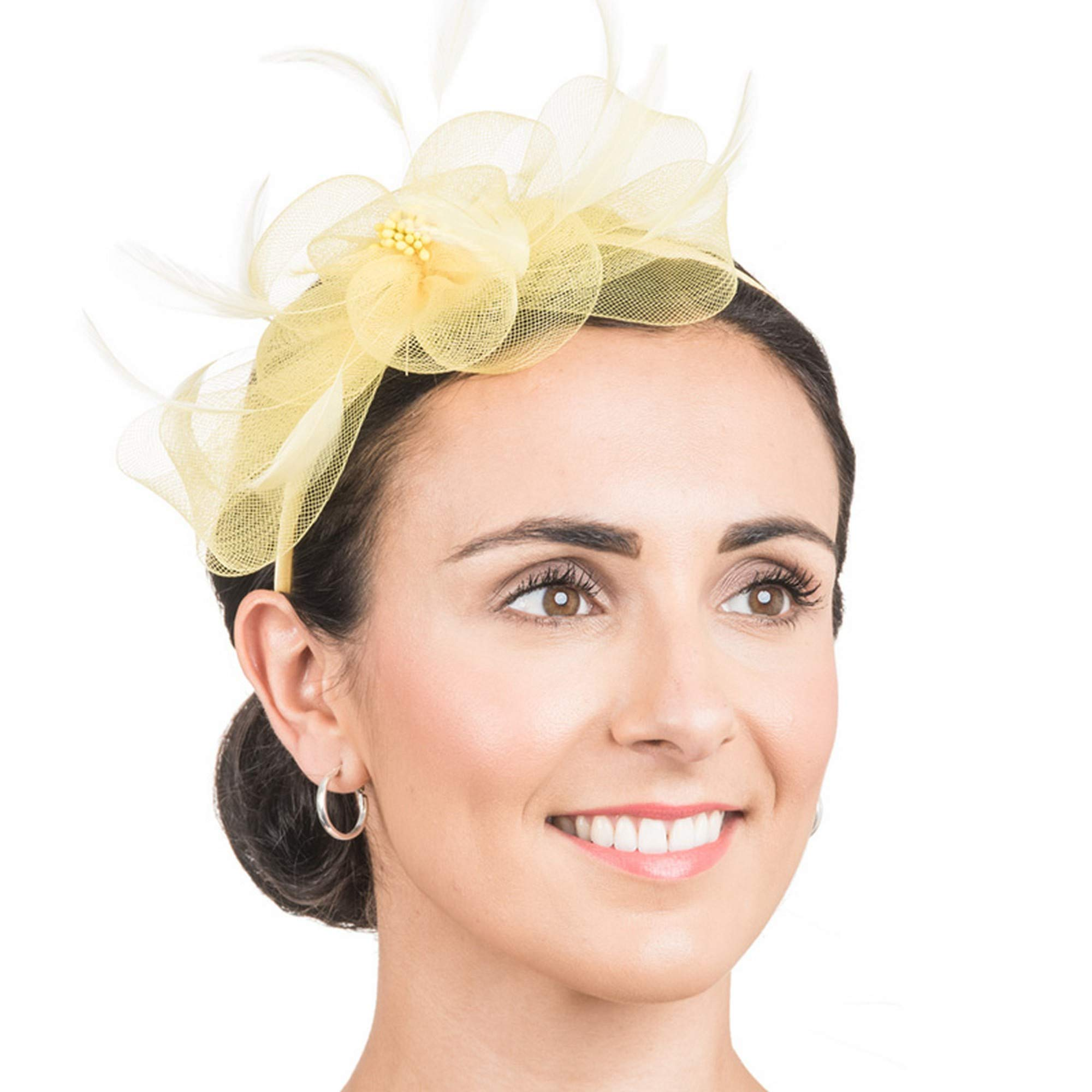 Hawkins Collection Womens/Ladies Woven Flower And Feather Fascinator (One Size) (Lemon)