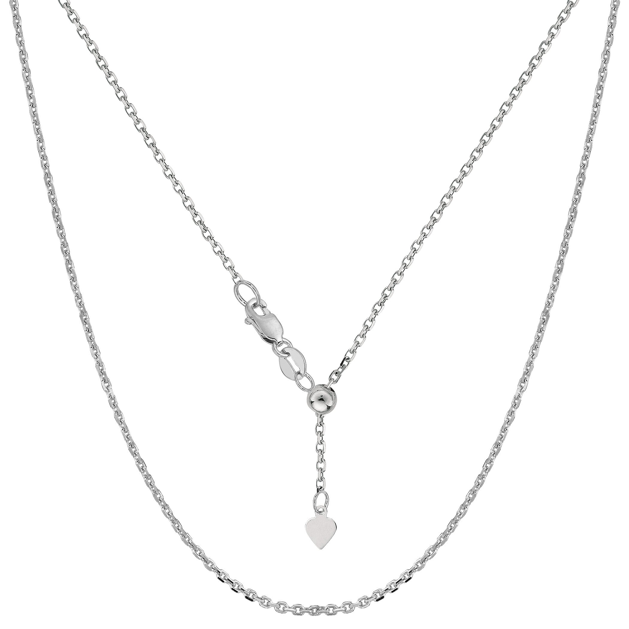 10k White Gold Adjustable Cable Link Chain Necklace, 0.9mm, 22''