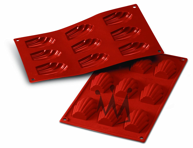 Silikomart-Wonder Cakes SF032 100-Percent Platinum Silicone-Cake Mould-Madeleine-68x45-Millimeter, Terracotta
