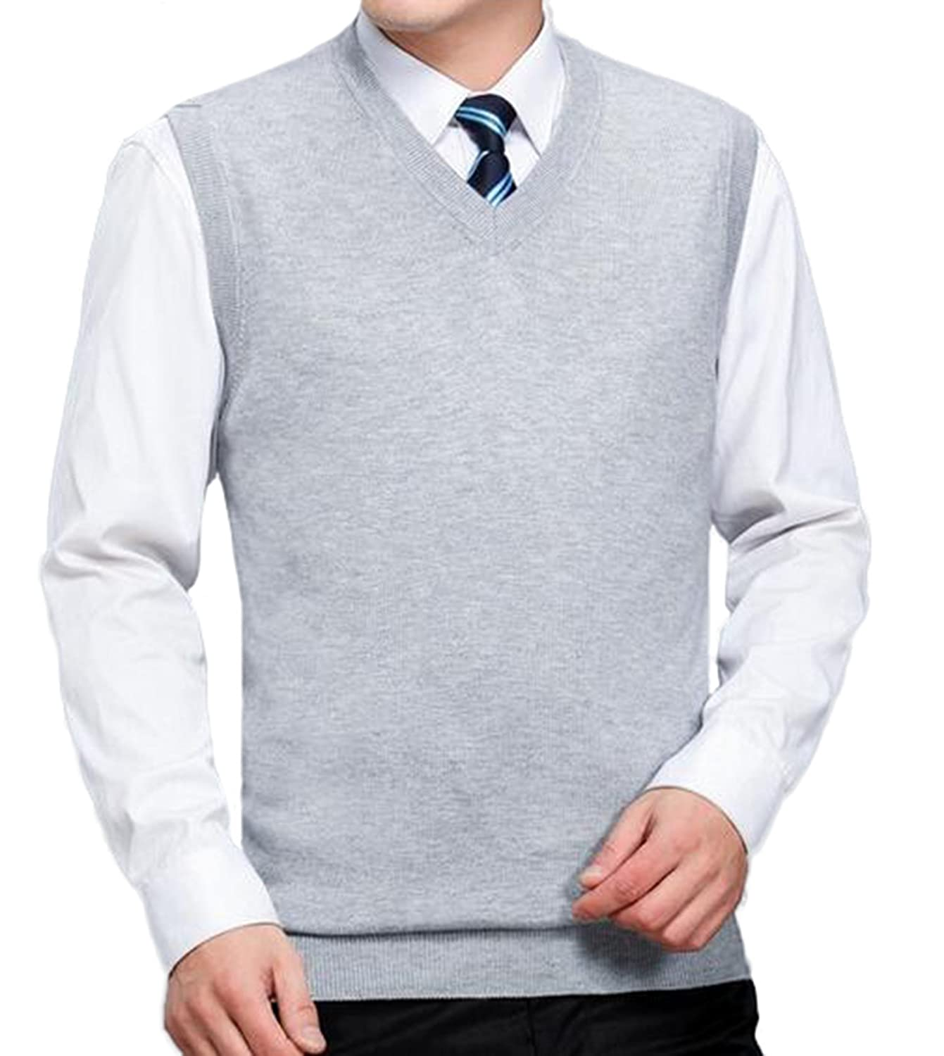 DD.UP Men's Knitted V-Neck Middle-Aged Business Wool Sweater Vest