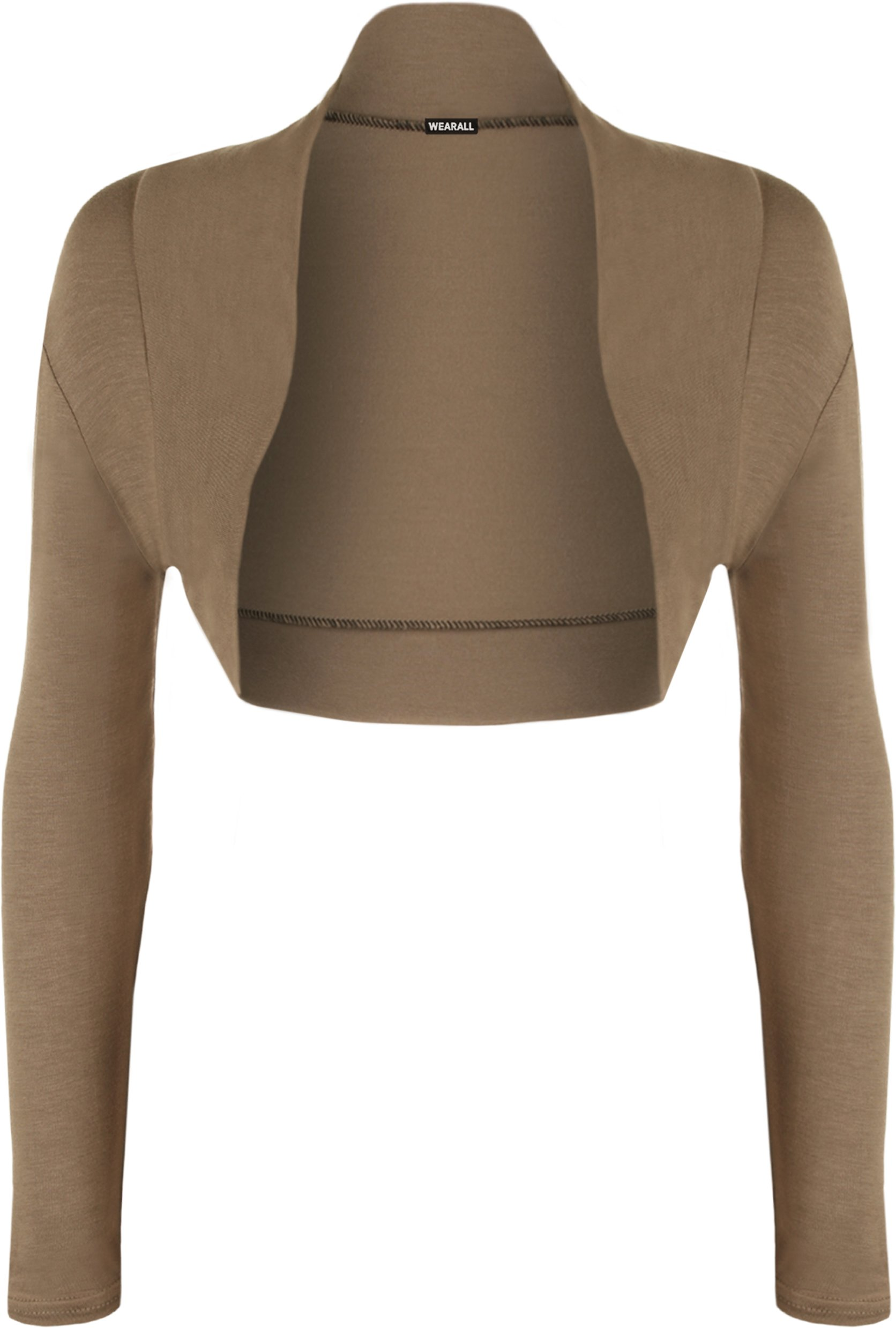 WearAll Womens Long Sleeve Shrug Bolero Cardigan - Mocha - US 8-10 (UK 12-14)