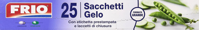 Frio - Sacchetti Gelo, formato grande, con etichetta prestampata e laccetti di chiusura - 25 pezzi - [confezione da 24]
