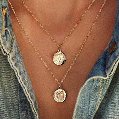 Vintage 4 Ring Circle Pendant Sweater Necklace With Brown Leather Long Chain