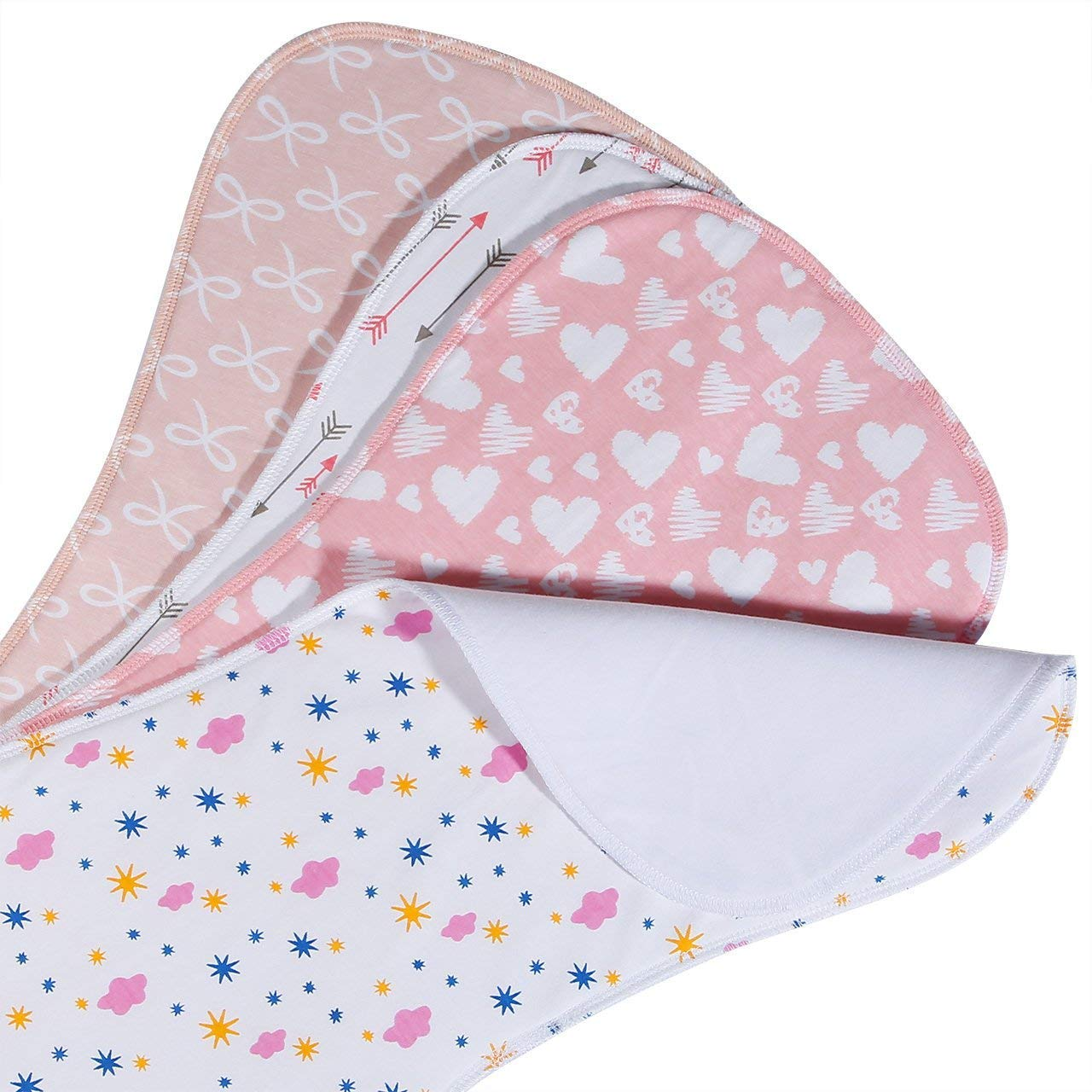 Baby Burp Cloths 3 Layer Burp Bibs Curved Soft and Absorbent for Girl, 4 Pack Burping Towels by Yoofoss
