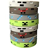 Pixel Miner Crafting Style Character Wristband Sets (8 Pack)- Pixel Theme Bracelet Designs - Spider, Creeper, Skeleton, Diamo