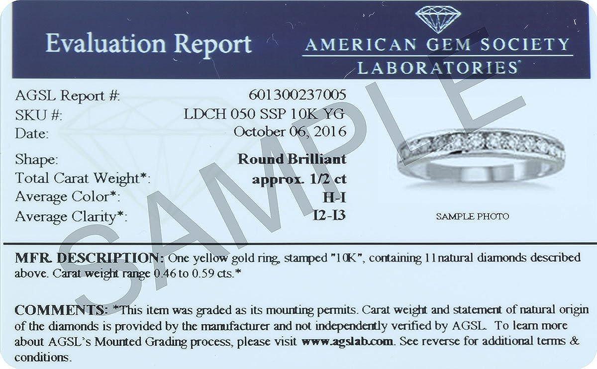 2b1e77dba Amazon.com: AGS Certified 1/2 Carat TW Channel Set Diamond Band in 10K White  Gold: SZUL: Jewelry