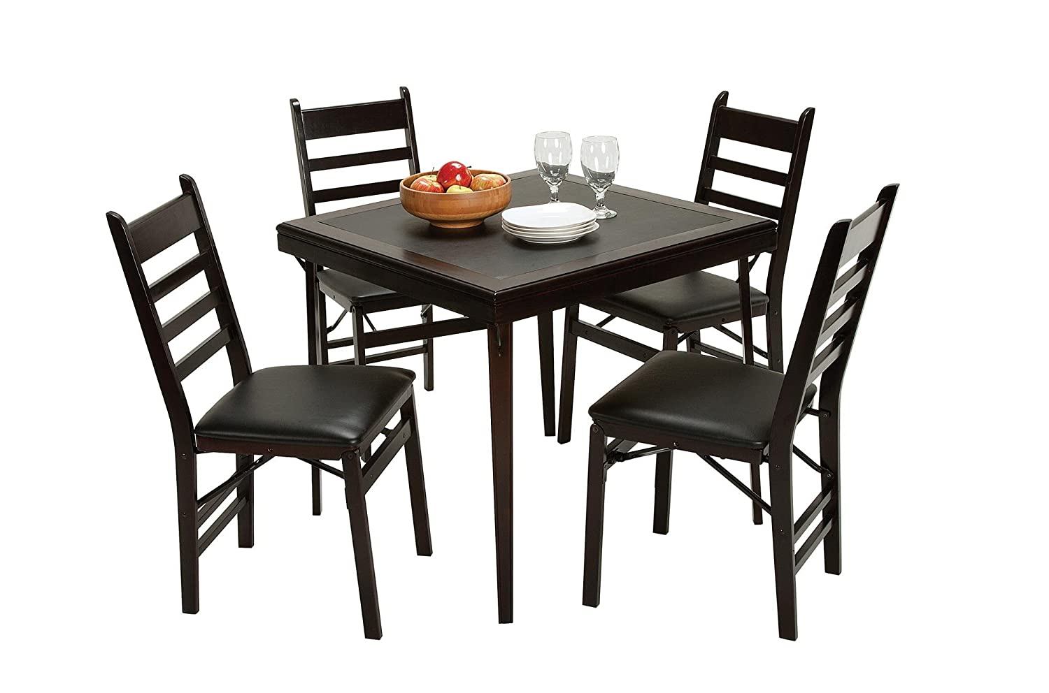 Cosco Folding Espresso Wood Table Square with Vinyl Inset Dorel Home Furnishings 14260ESPE
