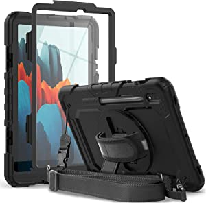 Samsung Galaxy Tab S7 Case SM-T870/T875/T878   Herize Tab S7 Case 11 inch 2020 with S Pen Holder Screen Protector   Heavy Duty Shockproof Rugged Silcone Protective Cover W/Stand Shoulder Strap