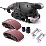 TACKLIFE Belt Sander 3×18-Inch with 13Pcs Sanding Belts, Bench Sander with Variable-speed Control, Fixed Screw Clamps…
