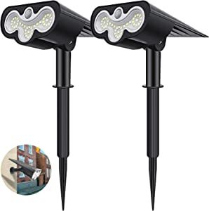 Solar Spot Lights Outdoor Motion Sensor 2Pack,39 LEDs Waterproof Solar Lights Outdoor Pathway Lighting 2-in-1 Solar Garden Lights, 2 Modes Solar Powered Landscape Spotlights for Path Wall Yard Walkway