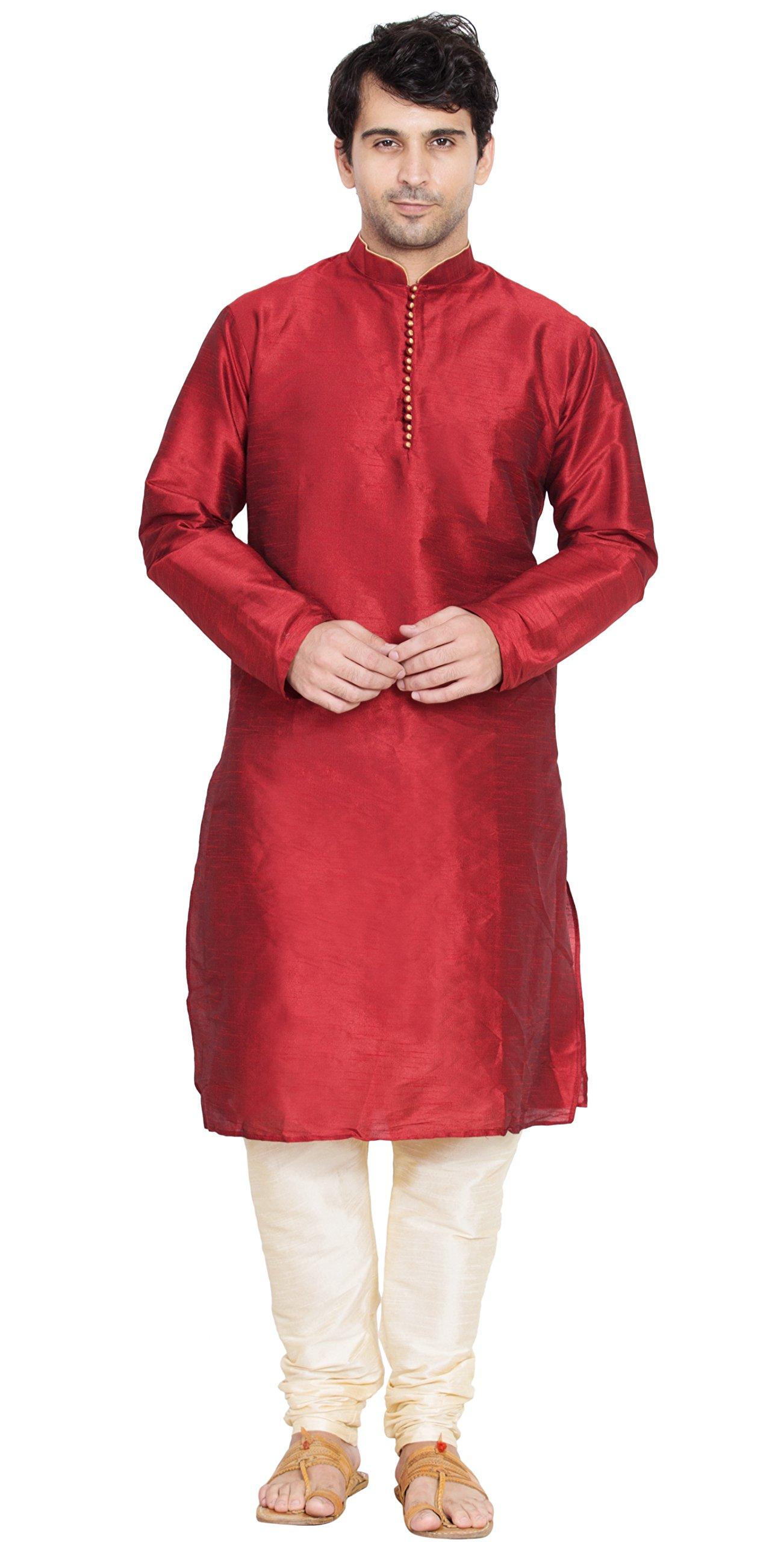 Indian Kurta Pajama Handmade Long Sleeve Shirt Traditional red Summer Dress -L