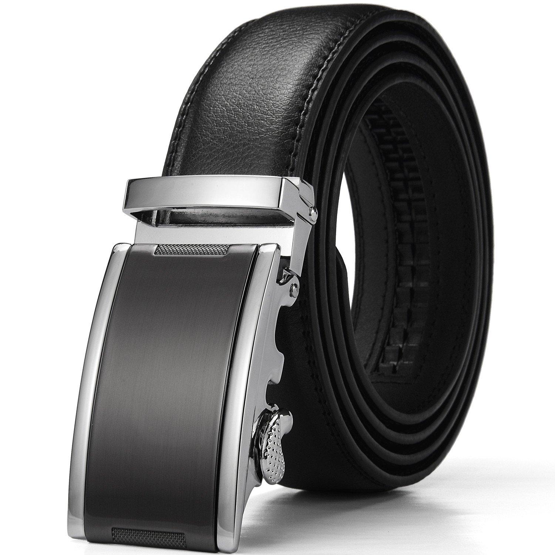 Xhtang Men's Ratchet Belt Automatic Buckle Genuine Leather belt 35mm Wide S (Waist:30-43, Brown) PK3021