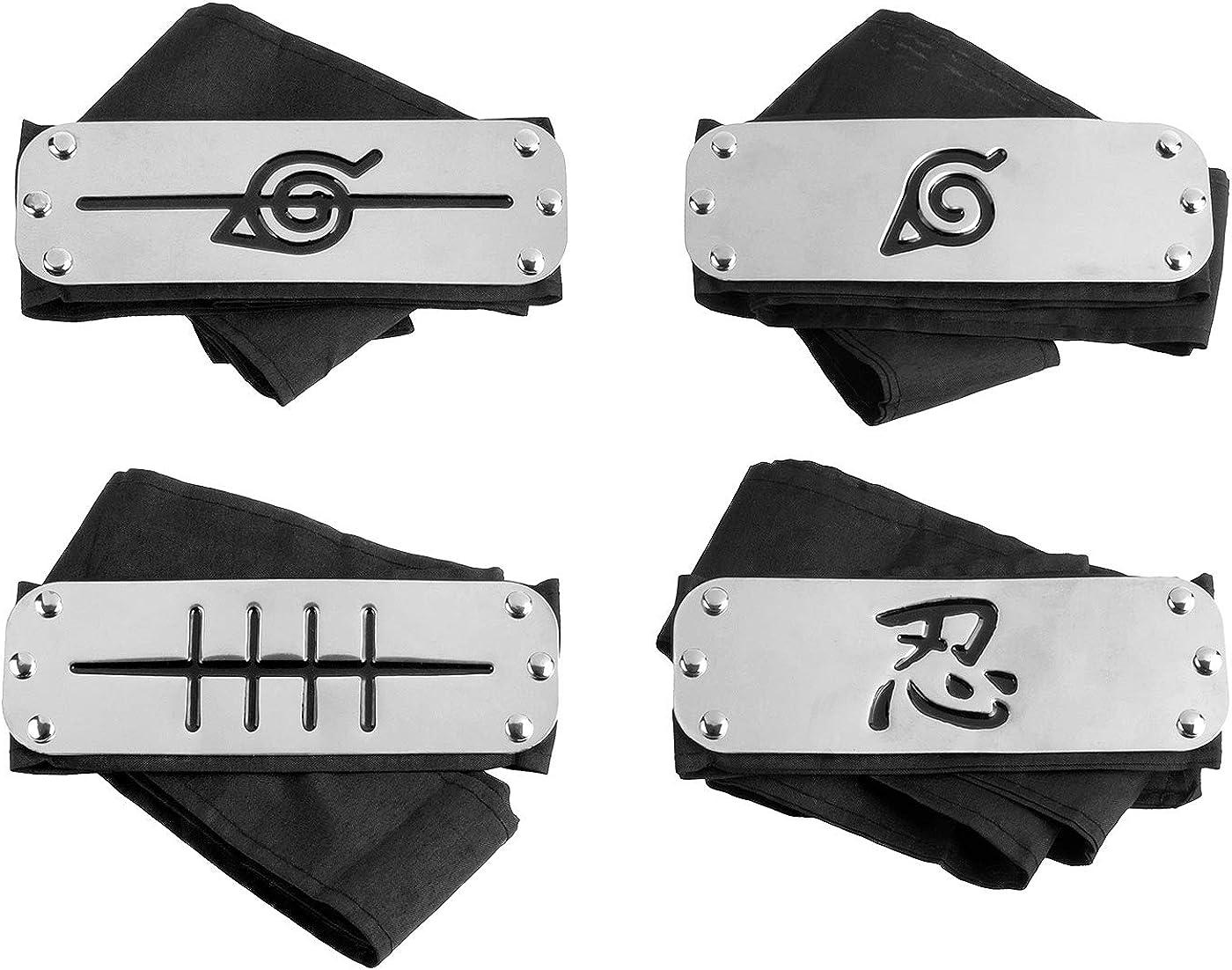 4 Pack Naruto Headband Metal Plate Japanese Naruto Headband Leaf Village Headband for Cosplay (Black)
