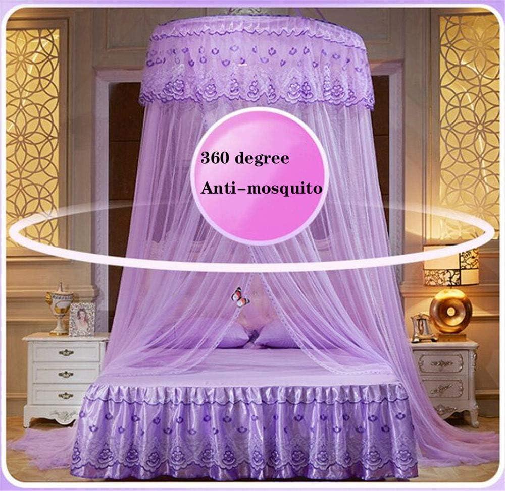 Round Klamboe Elegante Kant Hangende Bedding Klamboe Dome Top Princess Bed Canopy Verrekening Voor Bedden Girls,B C