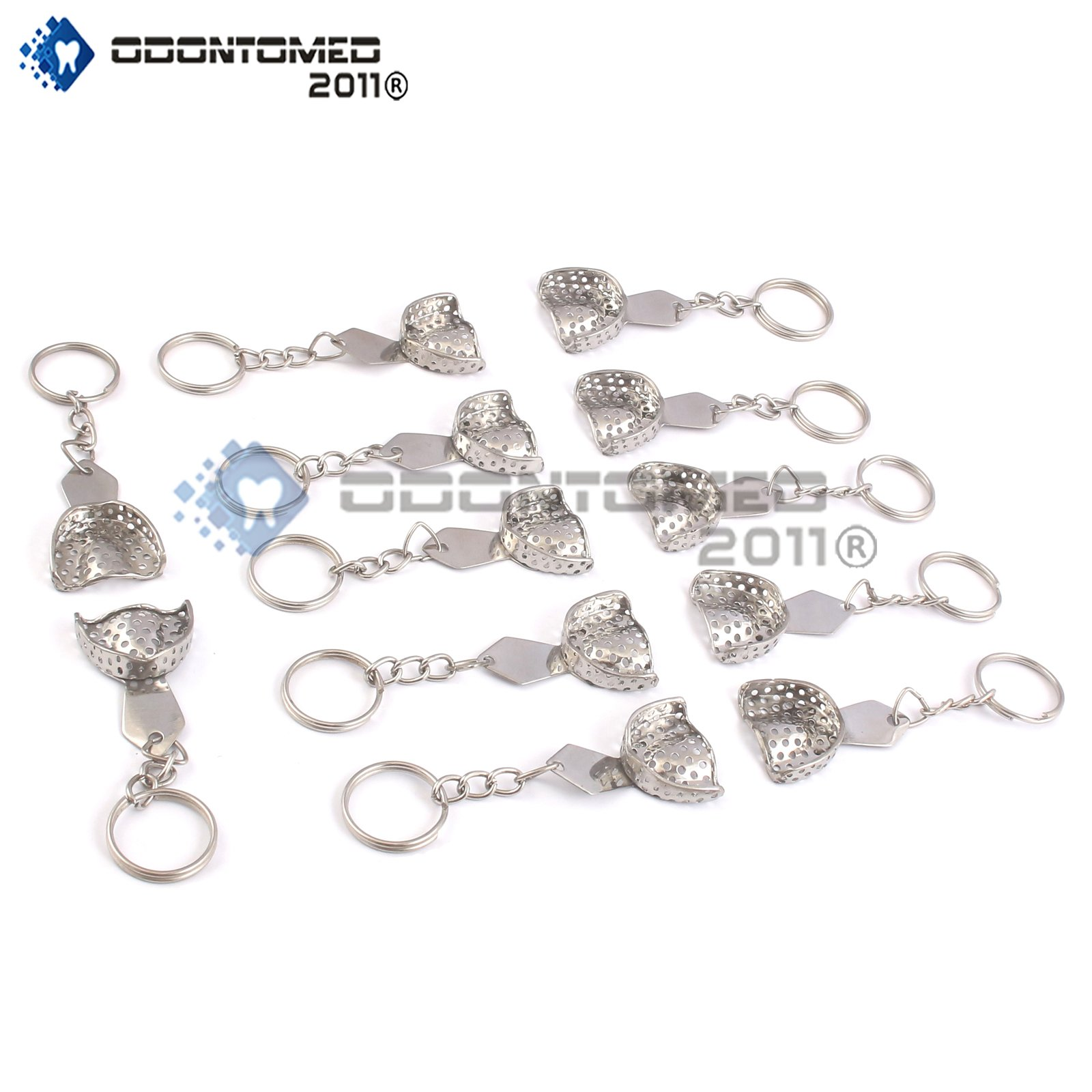 OdontoMed2011 Set Of 12 Pieces Dental Impression Tray Perforated Key Chain Stainless Steel ODM