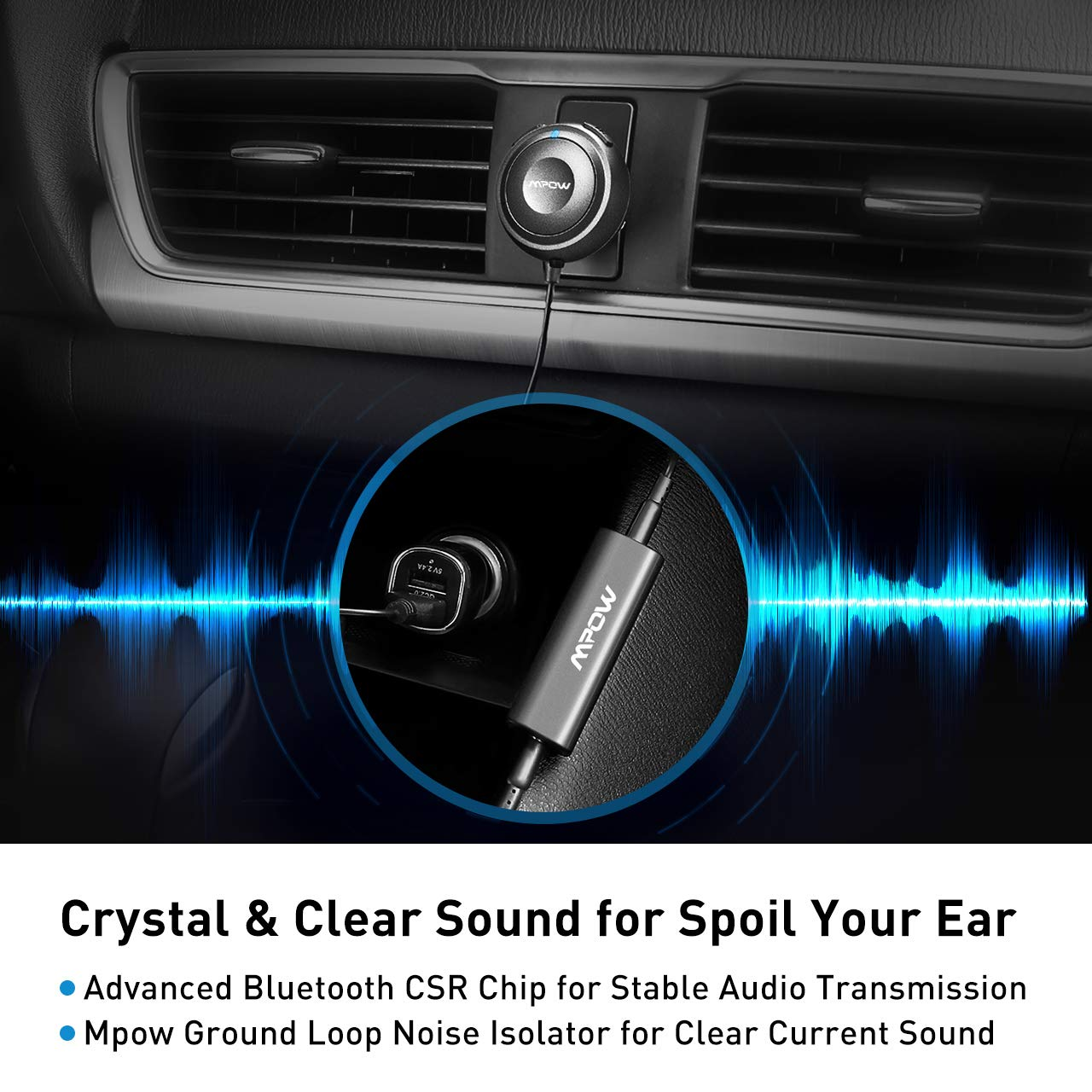 Mpow Bluetooth Receiver Car, Hands-Free Car Kits/Bluetooth AUX Car Adapter 3 in 1 Dual USB Car Charger & Ground Loop Noise Isolator Car Audio System (HFP/HSP/A2DP/AVRCP) by Mpow (Image #4)
