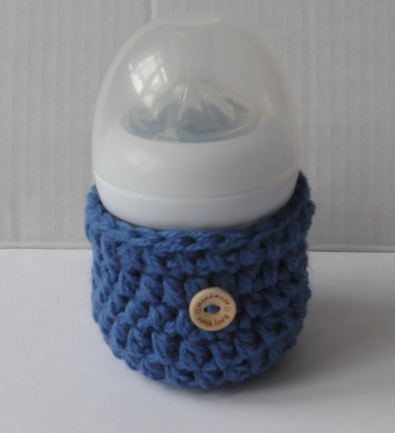 Handmade Crochet Baby Bottle Cover Warmers Cozy Infant Accessory Gift Handmade High Quality - Denim Blue