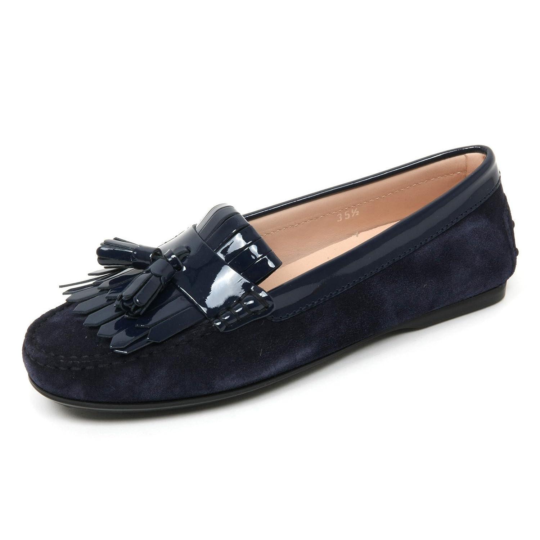 B9582 mocassino donna TOD'S scarpa frangia nappine blu scuro loafer scarpe Donna