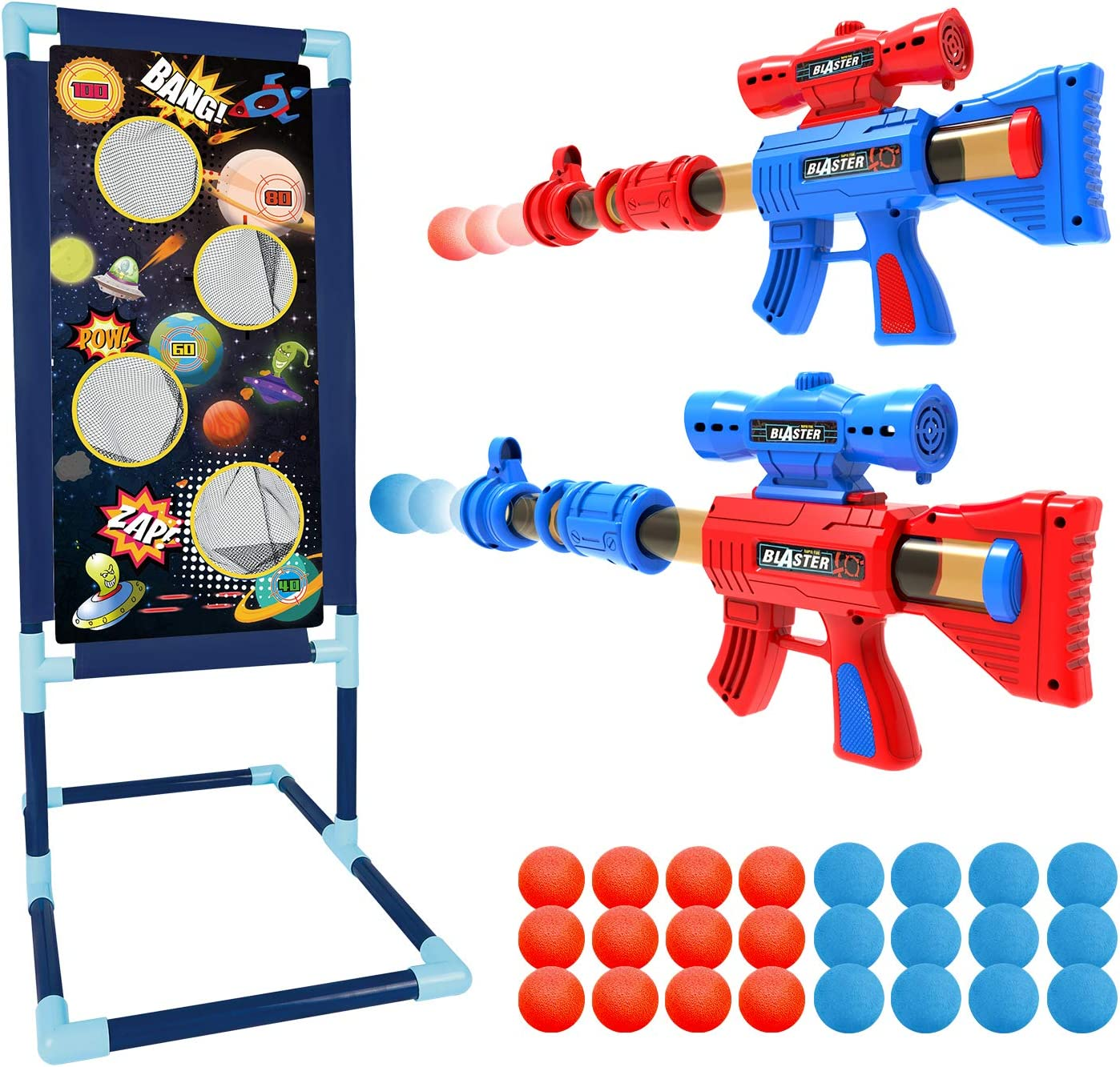 Shemira Shooting Game Toy for 5 6 7 8 9 10+ Years Olds Boys and Girls,2pk Foam Ball Popper Air Guns & Shooting Target & 24 Foam Balls - Ideal Gift -Space War Theme- Compatible with Nerf Toy Guns
