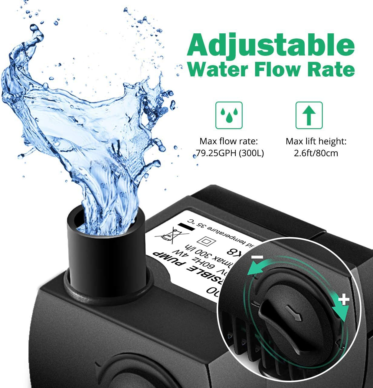 Homasy Upgraded 80 GPH (300L/H, 4W) Submersible Water Pump, 48 Hours Dry Burning Water Pump with 5.6ft (1.7m) Power Cord Black