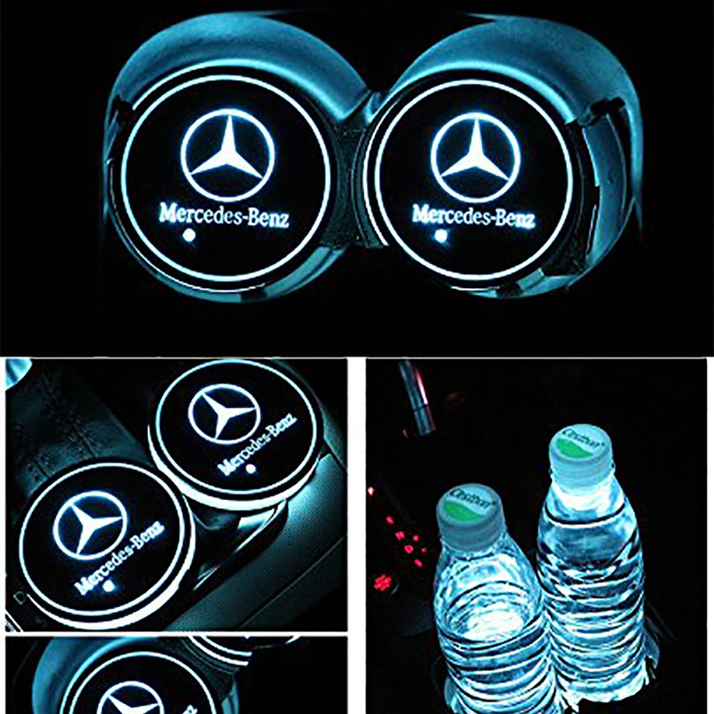 Alichee LED Car Logo Cup Holder Pad 7 Colors Changing USB Charging Mat LED Cup Mat Car Atmosphere Lamp Decoration Lights 2PCS for Chevrolet Accessories