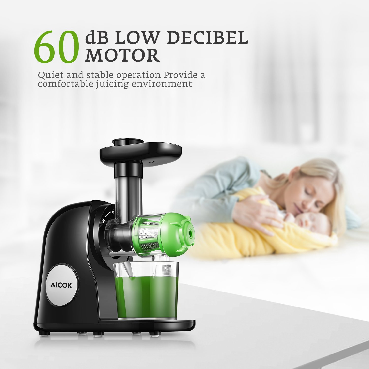Juicer Masticating Slow Juicer Extractor, Aicok Juice Quiet Motor & Reverse Function, BPA Free, Cold Press Juicer Easy to Clean with Brush, Juice Machine Recipes for Vegetables and Fruits by AICOK (Image #3)