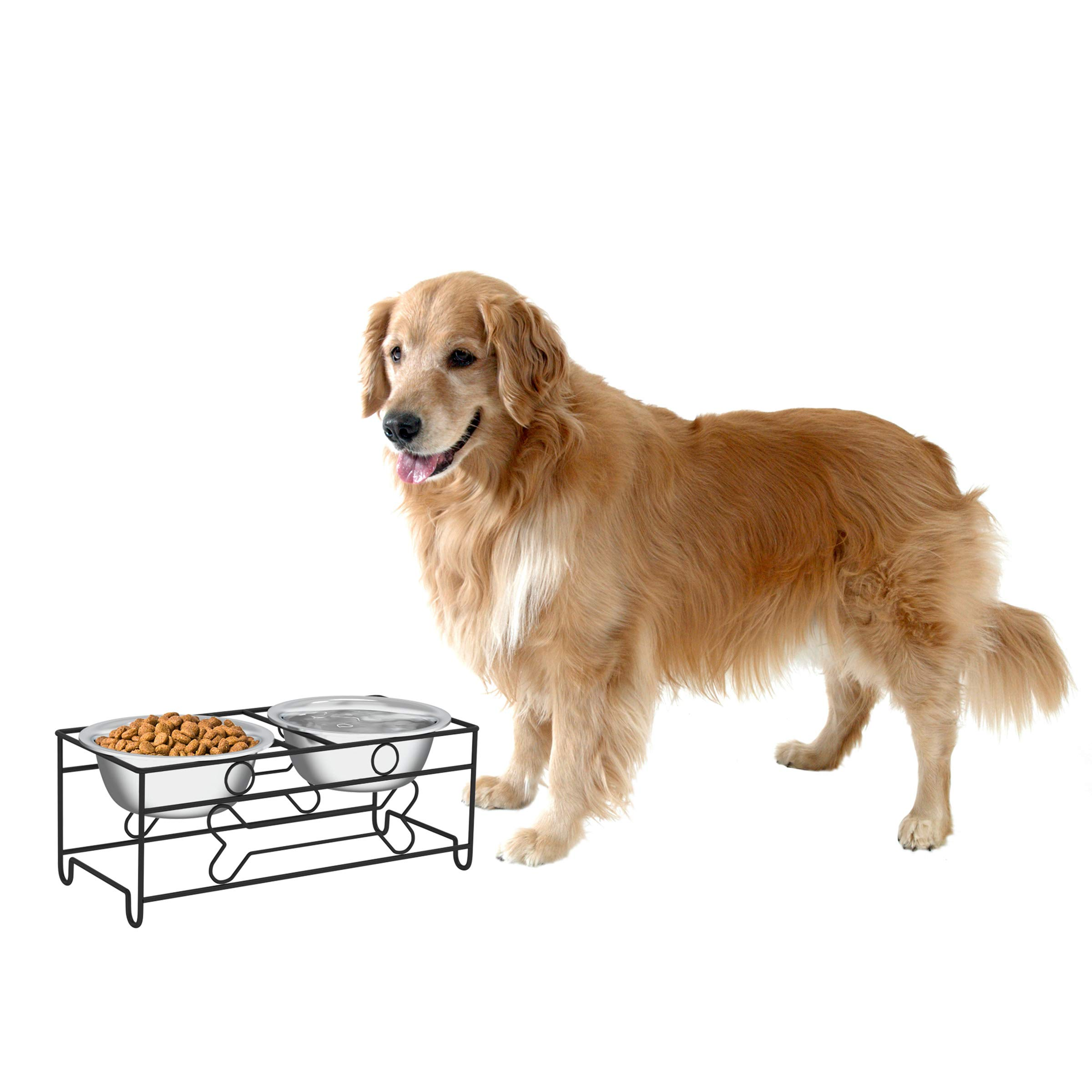 PETMAKER Stainless Steel Raised Food & Water Bowls with Decorative 6.5'' Tall Stand for Dogs & Cats-2 Bowls, 40oz Each-Elevated Feeding Station
