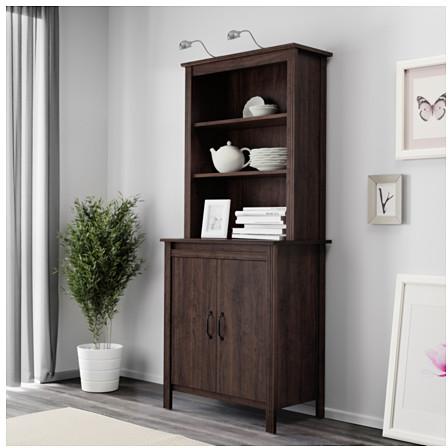 BRUSALI High cabinet with doors - brown - IKEA