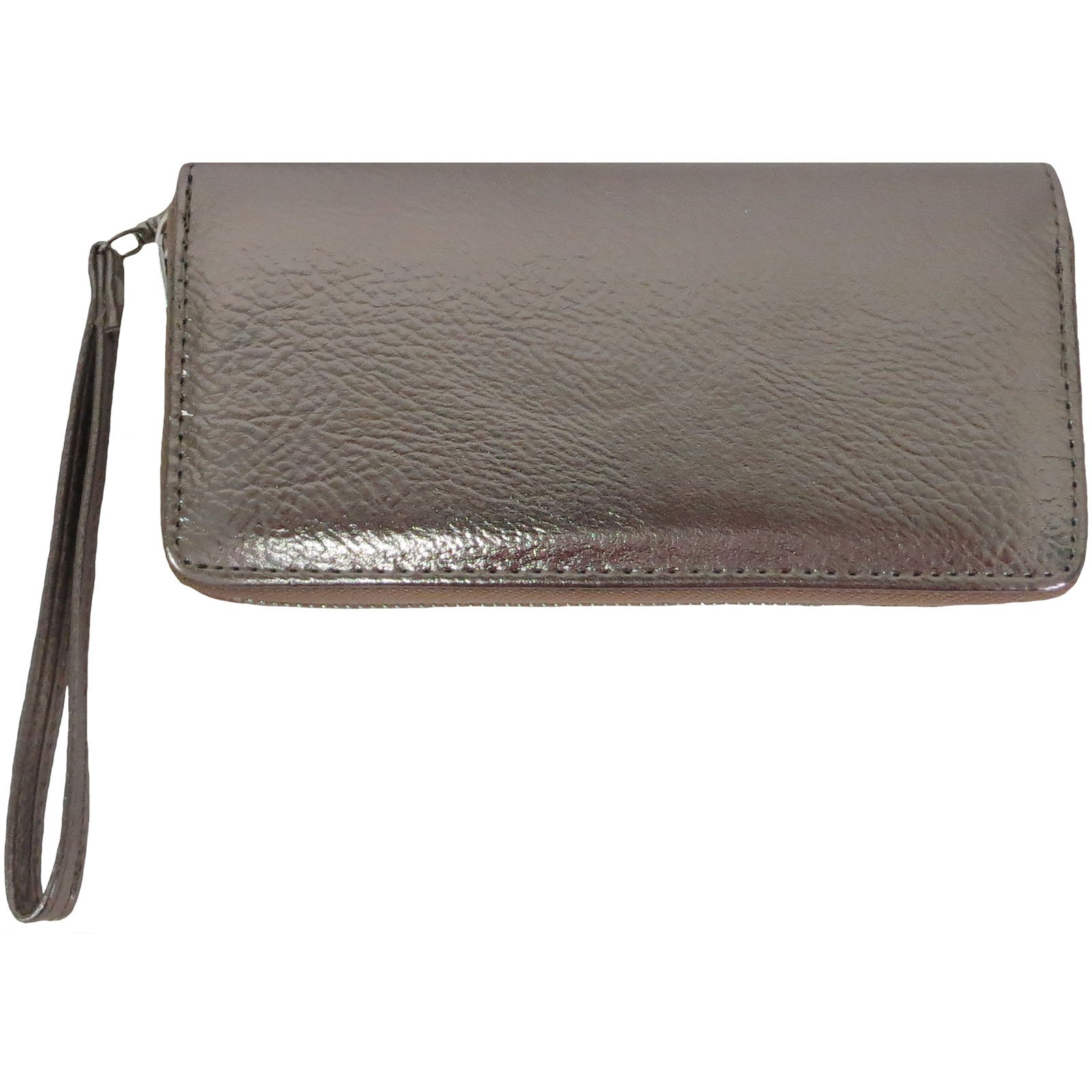 Metallic Luminous Holographic Wallet wristlet for women girls (pewter)