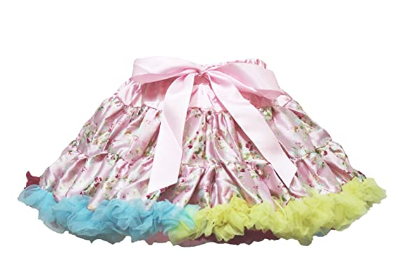 2077e3c2eb Valentine Pink Rainbow Floral Pettiskirt Skirt Tutu Dress Child Girl Cloth  1-8y (1