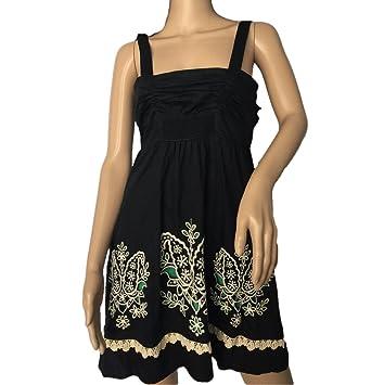 Anthropologie Floreat Black Embroidered Floral Dress Sz 6