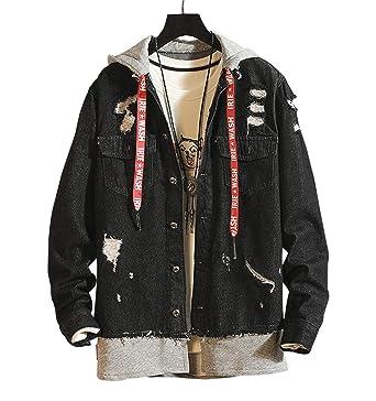 c163a5242911 Gihuo Women s Ripped Loose Boyfriend Denim Jacket Hooded Jean Jacket at  Amazon Women s Coats Shop