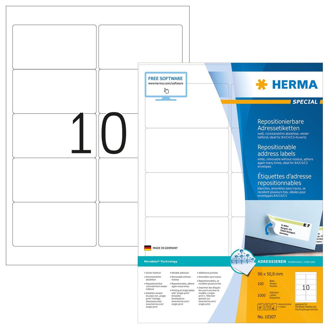 Herma 4349 Adressetiketten A4 weiß 96x50,8 mm repositionierbar matt 250 St.