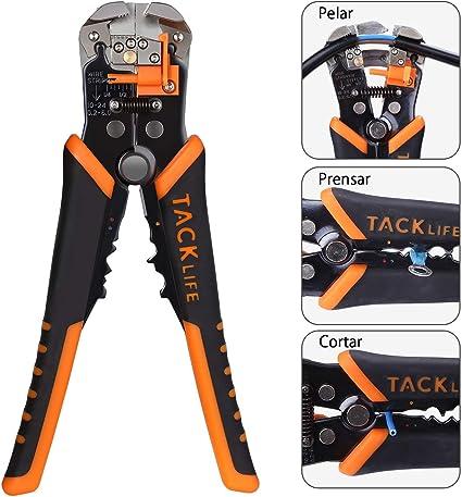 Tacklife MWS02 - Alicates de pelacables multifuncionales para mano (4-22 AWG), cortador de cables y crimpadora: Amazon.es: Coche y moto