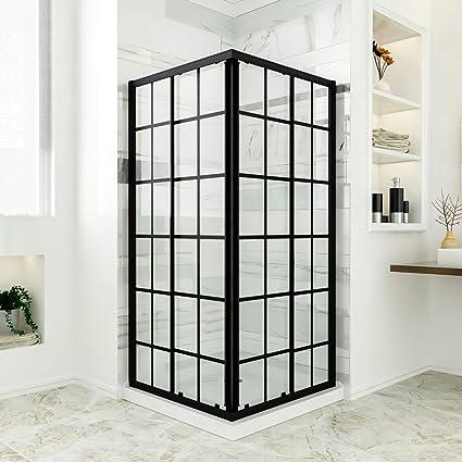72 Inch Shower Base.Sunny Shower Sliding Shower Door With Shower Base Corner Shower Enclosure 36 X 36 X 72 Inch 1 4 Clear Glass Shower Panel Black Glass Door White