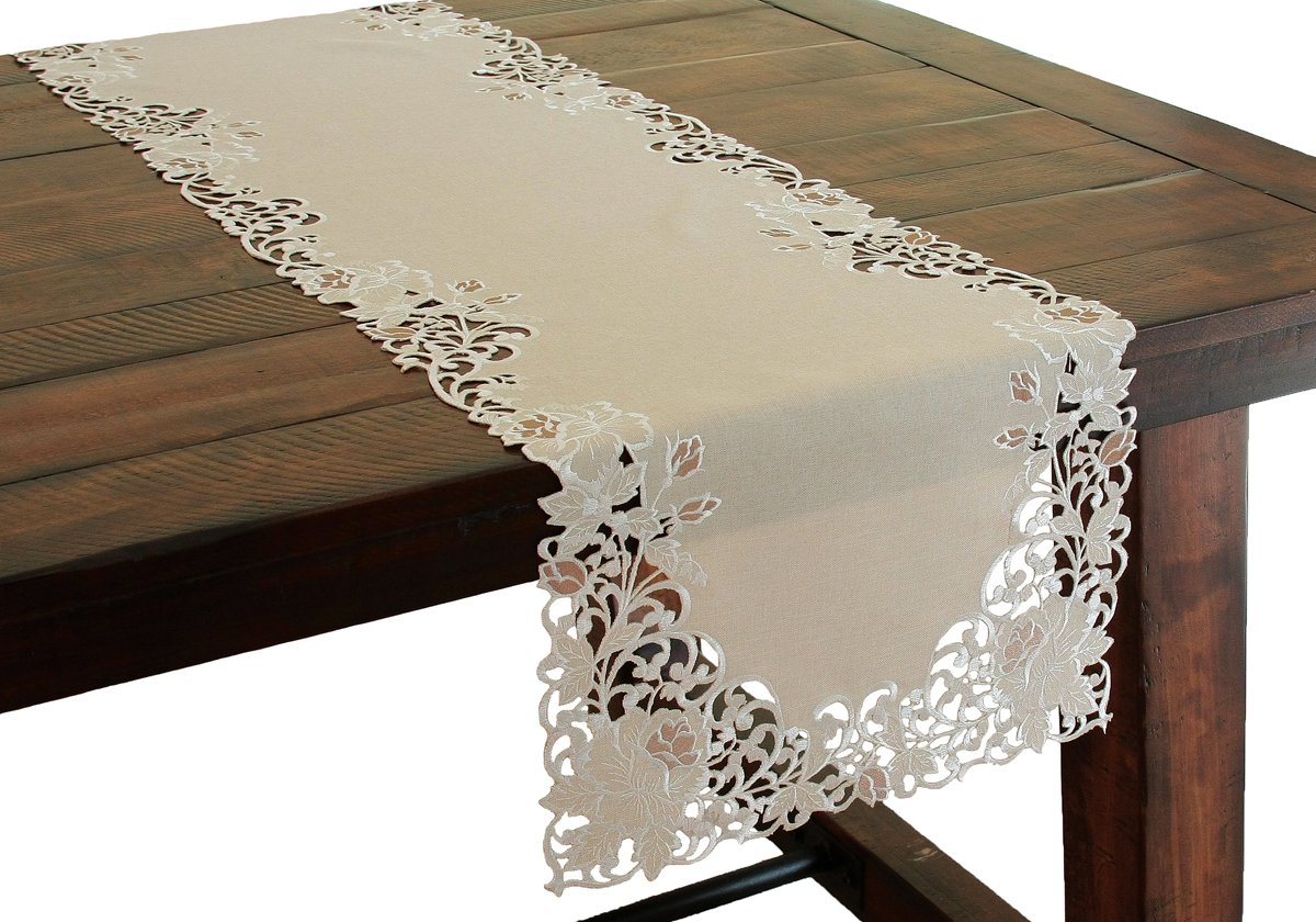 Xia Home Fashions Scrolling Rose Embroidered Cutwork Floral Table Runner, 15 by 72-Inch,Taupe