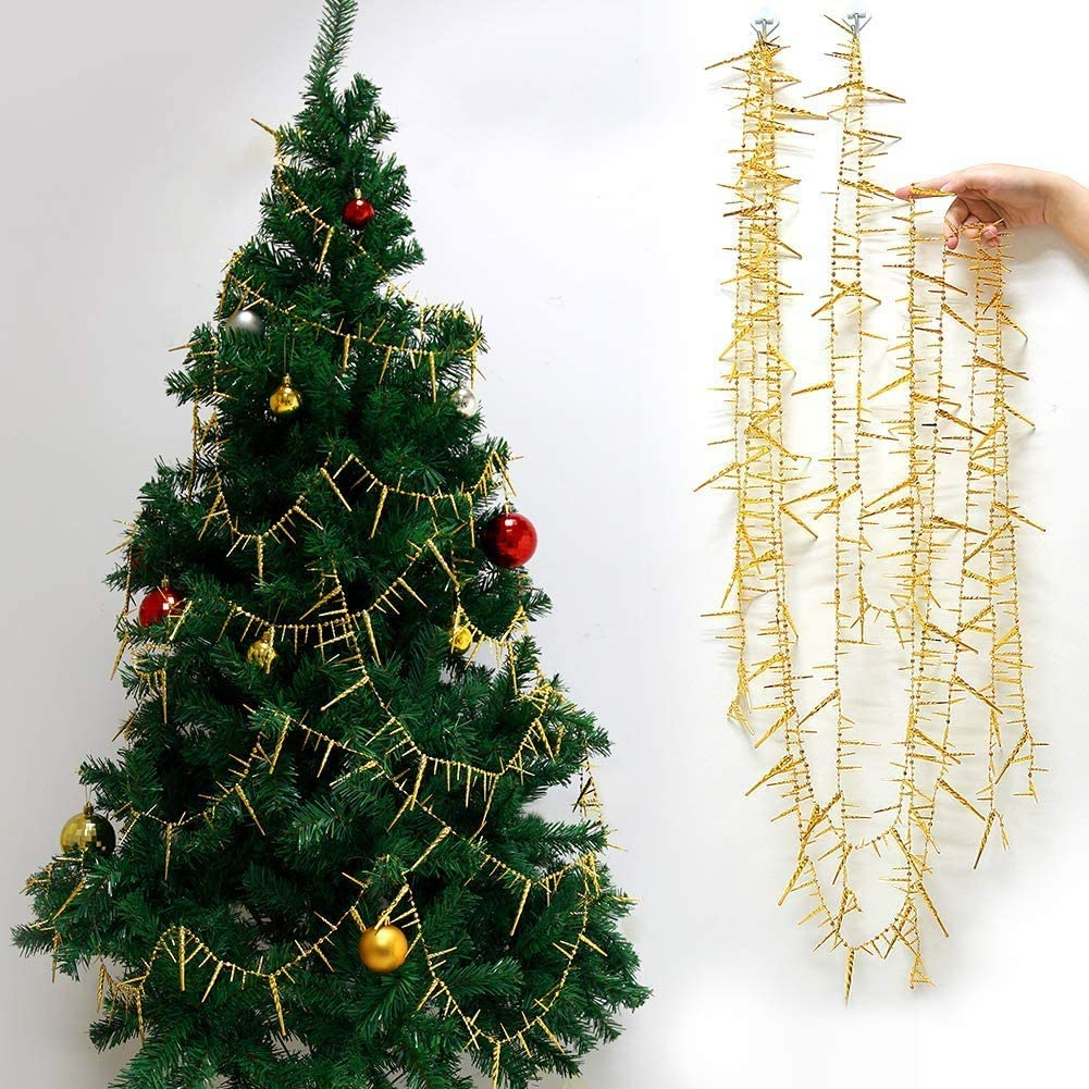 Decor365 3D Glittering Gold Icicle Garland Kit Christmas Tree Decoration Xmas Hanging Decor New Year Ice Streamer Winter Birthday Party Wedding Baby Shower Garland