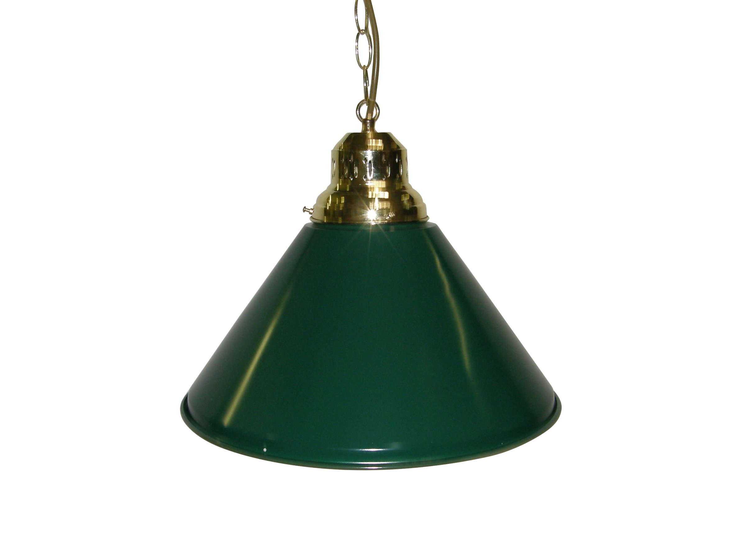 Game Room - Bar - Billiard - Pool Table Light - Pendant Brass with Green Metal Shade (Green)