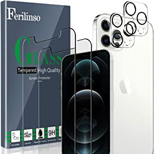 Ferilinso [4 Pack] 2 Pack Screen Protector for iPhone 12 Pro with 2 Pack Camera Lens Protector [Tempered-Glass] [Military Protective] [HD Clear] [Case Friendly] [Anti-Fingerprint] [Anti-Scratch]