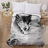 Wolf Flannel Blanket Twin Reversible Wolf Printed Bedding Fleece Blanket Soft MicrofiberThrow Blanket Twin Size 60x80…