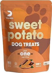 Davie's Sweet Potato Dog Treats, Made in The USA, High in Fiber, Grain Free, Vegan, No Preservatives, Vegetarian Alternative to Rawhide Chews, Rich in Vitamins, [8 oz Bag]
