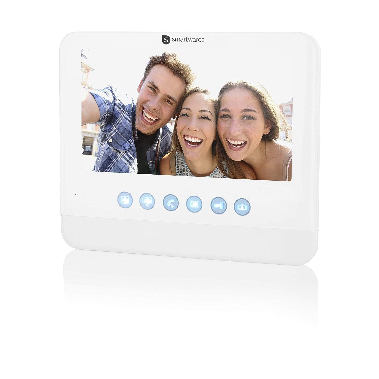 """Visi/ón nocturna 720p HD Kit para dos viviendas Sistema de videoportero Smartwares DIC-22222 C/ámara orientable 17,8 cm Resistente al agua Funci/ón de grabaci/ón autom/ática Monitor LCD de 7/"""""""